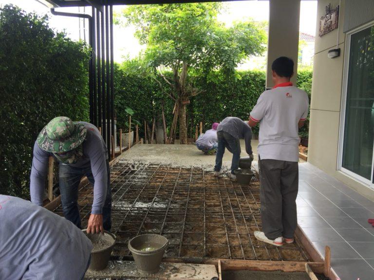 ปรับพื้นโครงสร้างเทคอนกรีต ติดตั้งไม้พื้น SCG 9