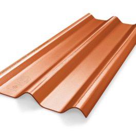 หลังคาไฟเบอร์ซีเมนต์ เอสซีจี รุ่น ลอนคู่ไฮบริด 50x150x0.55 สีส้มประกายมุก
