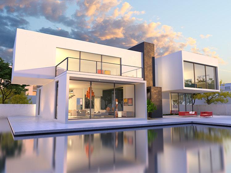 ภาพ: บ้านสไตล์โมเดิร์นกับหลังคาคอนกรีตเรียบแบน