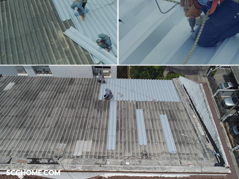 รีวิวบริการ Top Up Roof ซ่อมหลังคารั่วทาวน์เฮาส์ จบ ง่าย ไม่กระทบเพื่อนบ้าน 1