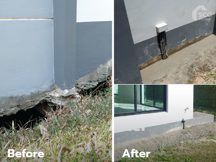 ภาพ: ตัวอย่างโพรงใต้บ้านและสภาพพื้นดินรอบโพรงหลังจากรับบริการเติมเต็ม ปิดโพรงใต้บ้าน FillGood พร้อมปรับหน้าดินเสร็จเรียบร้อย
