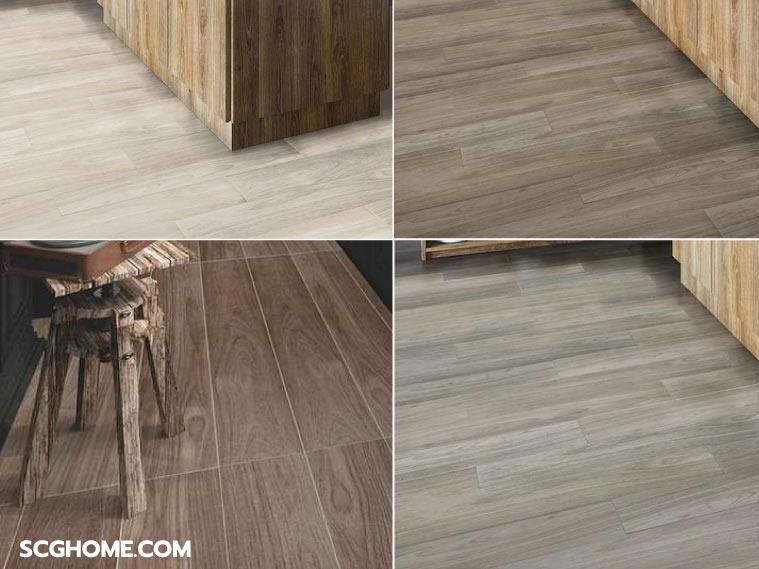 ภาพ : ตัวอย่างกระเบื้อง Hygienic tile ลายไม้โทนสีต่างๆ