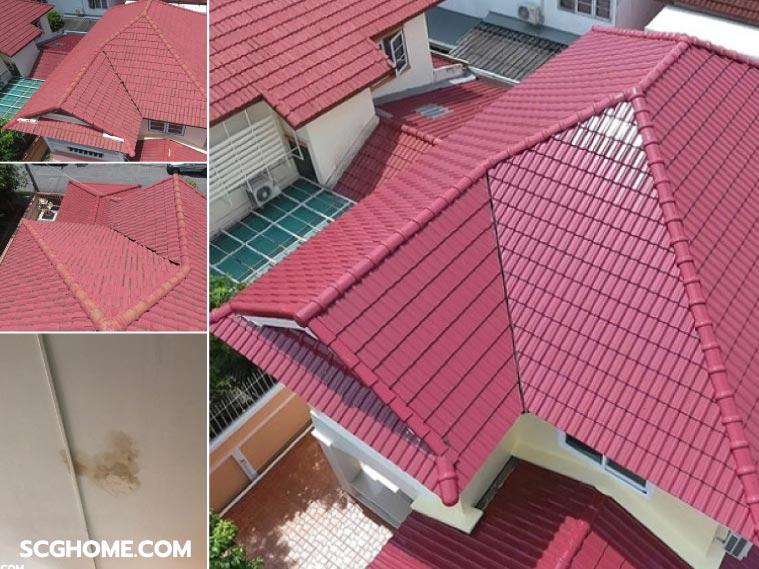 ภาพ: ตัวอย่างเปรียบเทียบหลังคาเดิมที่มีปัญหารั่วซึม (ซ้าย) และกับหลังคาที่เปลี่ยนกระเบื้องใหม่ทั้งผืนเรียบร้อยแล้ว (Re-Roof)