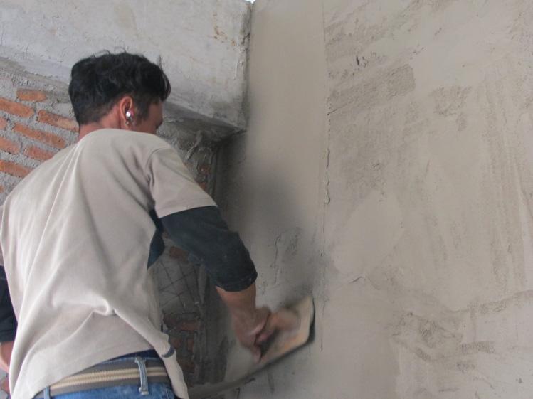 ภาพ: ผนังก่ออิฐฉาบปูน