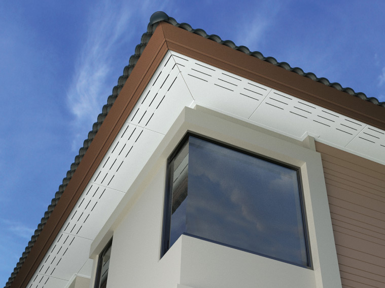ภาพ: ฝ้าเพดานภายนอกแบบเซาะร่องระบายอากาศครึ่งแผ่น