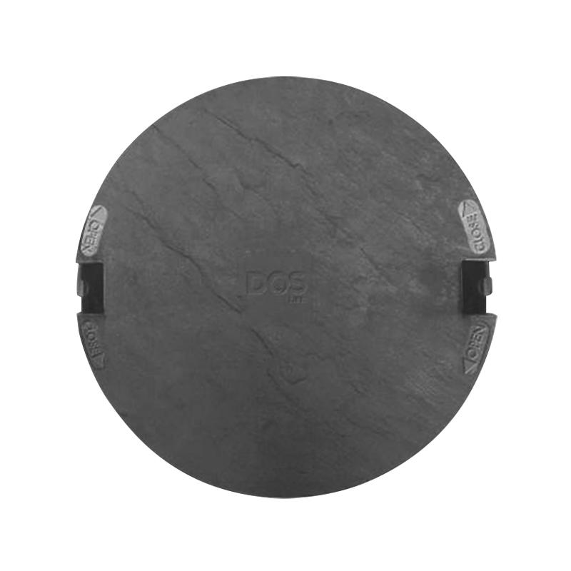 ฝาถังกลมลายหิน DOS ฝา-เฟรม สีดำ